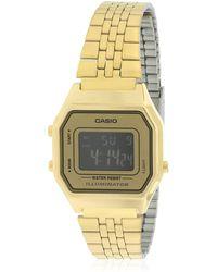 G-Shock - Gold- Tone Digital Retro Ladies' Watch - Lyst