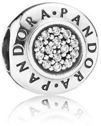 PANDORA - Authentic Pandor Signature W/clear Cubic Zirconia - Lyst