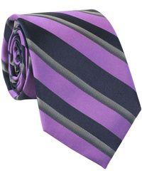 Calvin Klein - Hot Reflection Stripe Slim Silk Blend Tie And Navy - Lyst