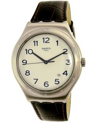 Swatch - Four Thirty Yws416 Silver Leather Swiss Quartz Dress Watch - Lyst