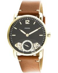Fossil   The Commuter Twist Me1166 Gold Leather Japanese Quartz Fashion Watch   Lyst
