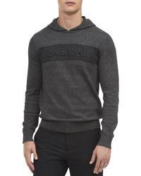 Calvin Klein - Striped Raised Logo Hooded Sweater - Lyst