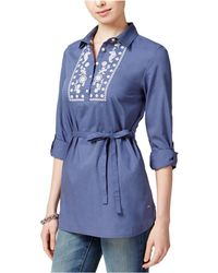 Tommy Hilfiger - Embroidered Roll-tab-sleeve Shirt, Only At Macy's - Lyst