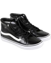 96f6a66a57 Vans - Sk8 Hi Slim Cutout Mesh Black White Mens High Top Sneakers - Lyst