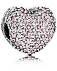 PANDORA - Pink Pave Open My Heart Clip Charm - Lyst