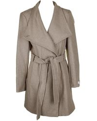 Calvin Klein - Gold Tie Belt Toggle Sleeve Closure Button Front Wool Coat L - Lyst