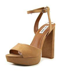 fd6a934446b6 Lyst - Steve Madden Nylee Women Open Toe Leather Wedge Heel in White