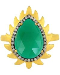 Meghna Jewels - Flame Ring Green Onyx - Lyst