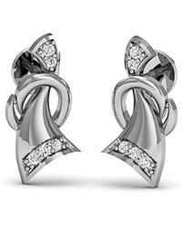 Diamoire Jewels Star Shape Premium Diamond Earrings in 14kt White Gold UGITjQSlY