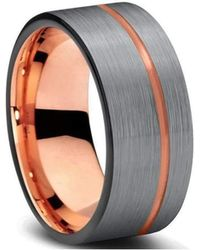 KAVALRI - Custom Charcoal/rose Gold Plated Tungsten Ring - Lyst