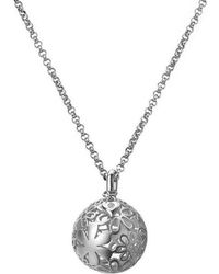 Lily and Lotty - Primrose Silver & Diamond Flower Ball / Heart Necklace - Lyst