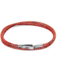 Anchor & Crew - Red Noir Liverpool Silver And Rope Bracelet - Lyst