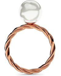 MARCELLO RICCIO - Rose Gold Twisted Pearl Ring - Lyst