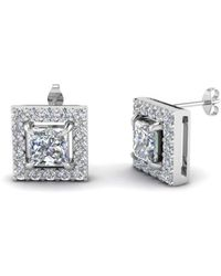 Diamoire Jewels - Round And Princess Cut Earrings In 10kt White Gold - Lyst