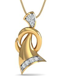 Diamoire Jewels - 10kt Yellow Gold And 7 Round Cut Diamond Pave Pendant Inspired By Nature - Lyst