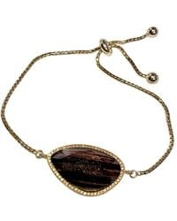 Shimmer by Cindy - Yellow Gold Plated Abstract Halo Bracelet With Black Glass Stone - Lyst