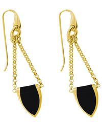 Stefano Salvetti - Yellow Gold Plated Bronze And Black Enamel Earrings - Lyst