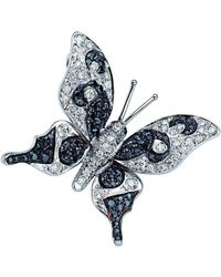 Pinomanna - White Gold & Diamond Natural Chic Butterfly Necklace | - Lyst