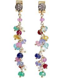 Nadean Designs - Multi Gemstone Pave Diamond Freesia Drip Earring - Lyst