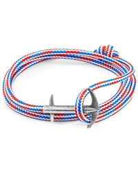 Anchor & Crew - Rwb Red White And Blue Admiral Rope And Silver Bracelet - Lyst