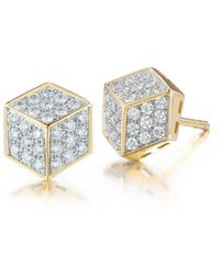 Paolo Costagli New York - Yellow Gold And Diamond Pave Brilliant Stud Earrings - Lyst