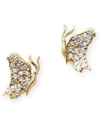 J.Herwitt - Small Butterfly Earrings Side View Yellow Gold - Lyst