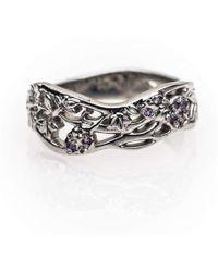 Rachel Helen Designs - 9kt Fairtrade White Gold Flower Ring - Lyst