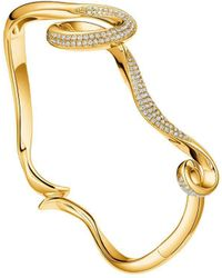Fei Liu - Yellow Gold Plated Serenity Bangle With Cubic Zirconia - Lyst