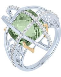 Arya Esha - Gold, Prasiolite & Diamond Cage Ring | - Lyst