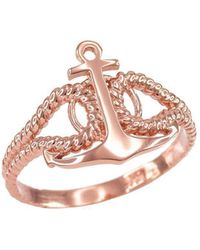 QP Jewellers - Fouled Anchor Ring In 9kt Rose Gold - Lyst