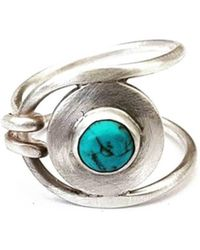 Lexi Cannon Jewellery - Sterling Silver Brushed Silver Wrap Ring With Chinese Turquoise - Lyst
