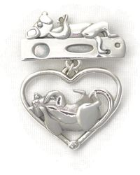 Donna Pizarro Designs - Sterling Silver And Diamond Cat Brooch - Lyst