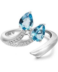 Fei Liu - Brushed Rhodium Plated Shooting Star Blue Topaz Open-end 2 Stone Ring - Lyst