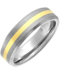 Star Wedding Rings - Titanium And 9kt Yellow Gold Inlay Flat Court Shape Matt Ring - Lyst