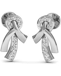 Diamoire Jewels Hand-hammered Pave Diamond and 14kt White Gold Earrings qhjcSIeL