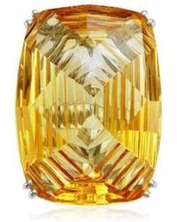 Cherie Thum - Fire And Ice Fancy-cut Rectangular Cushion Citrine Ring - Lyst