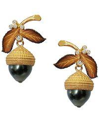 Chekotin Jewellery - Gold Pearl & Dimaond Acorn Eden Earrings | - Lyst