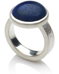 Naomi Tracz Jewellery Lapis Lazuli Ring With Hammered Band
