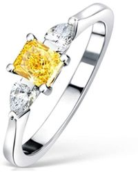 Clearwater Diamonds - Fancy Vivid Yellow Diamond Trilogy Ring - Lyst