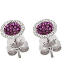 Mara Hotung - 18kt White Gold Ruby And Diamond Studs - Lyst