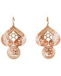 Murkani Jewellery - Lace Doily Rose Gold Large Earrings - Lyst