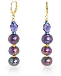 Regenz - 10kt Gold Drop Peacock Earrings - Lyst