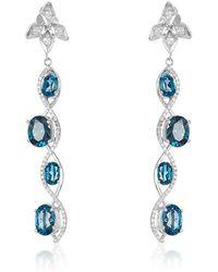 Nehita Jewelry - Sizzle Oval London Blue Topaz & Diamond Earrings - Lyst