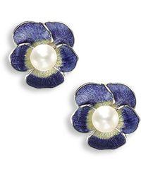 Nicole Barr - Silver Pansy Purple Stud Earrings - Lyst