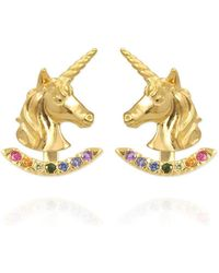 Jana Reinhardt Jewellery - Yellow Gold Plated Unicorn Earrings With Rainbow Ear Jackets Gold Plating - Lyst