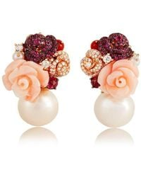 Jooal - Bouquet Earrings In Coral, Rubies And Diamonds - Lyst
