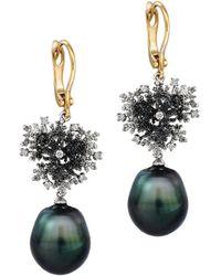 Chekotin Jewellery - Gold, Diamond & Pearl Coral Reef Eden Earrings   - Lyst