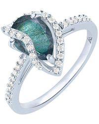 Arya Esha - White Gold, Labradorite & Diamond Veela Ring   - Lyst