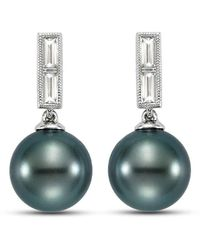 Isaac Westman - Black Tahitian Pearl And Diamond Earrings - 21mm - Lyst