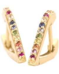 XISSJEWELLERY - En Pointe Huggy Earrings Multicoloured 14kt Gold - Lyst